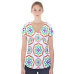 Geometric Circles Seamless Rainbow Colors Geometric Circles Seamless Pattern On White Background Short Sleeve Front Detail Top