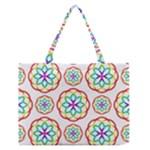 Geometric Circles Seamless Rainbow Colors Geometric Circles Seamless Pattern On White Background Medium Zipper Tote Bag