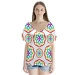 Geometric Circles Seamless Rainbow Colors Geometric Circles Seamless Pattern On White Background Flutter Sleeve Top