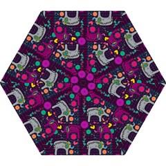 Colorful Elephants Love Background Mini Folding Umbrellas by Simbadda