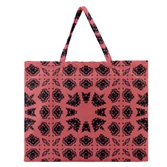 Digital Computer Graphic Seamless Patterned Ornament In A Red Colors For Design Zipper Large Tote Bag by Simbadda