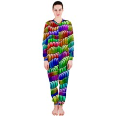 Digitally Created Abstract Rainbow Background Pattern Onepiece Jumpsuit (ladies)