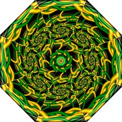 Green Yellow Fractal Vortex In 3d Glass Folding Umbrellas by Simbadda
