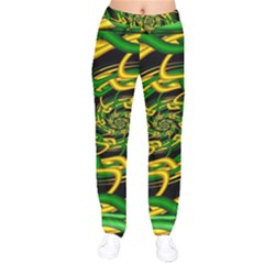Green Yellow Fractal Vortex In 3d Glass Drawstring Pants by Simbadda