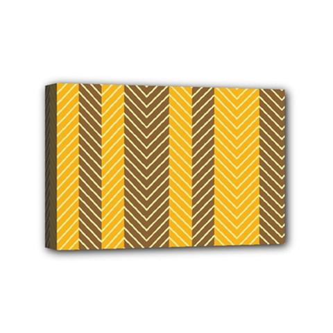 Brown And Orange Herringbone Pattern Wallpaper Background Mini Canvas 6  X 4  by Simbadda