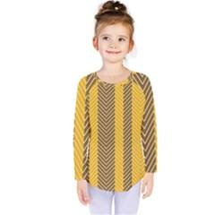 Brown And Orange Herringbone Pattern Wallpaper Background Kids  Long Sleeve Tee by Simbadda