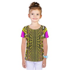 Fractal In Purple And Gold Kids  One Piece Tee by Simbadda