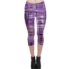Purple Wave Abstract Background Shades Of Purple Tightly Woven Capri Leggings  by Simbadda