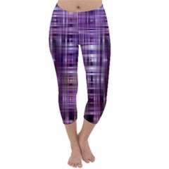 Purple Wave Abstract Background Shades Of Purple Tightly Woven Capri Winter Leggings  by Simbadda