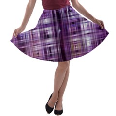Purple Wave Abstract Background Shades Of Purple Tightly Woven A Line Skater Skirt by Simbadda