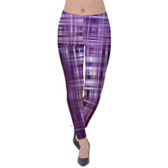 Purple Wave Abstract Background Shades Of Purple Tightly Woven Velvet Leggings by Simbadda