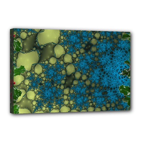 Holly Frame With Stone Fractal Background Canvas 18  X 12  by Simbadda