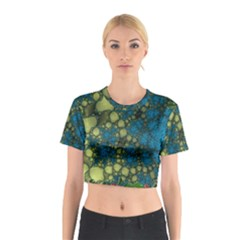 Holly Frame With Stone Fractal Background Cotton Crop Top by Simbadda