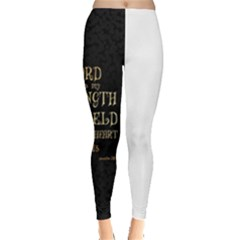 The Lord Is My Strength And My Shield In Him My Heart Trusts      Inspirational Quotes Leggings  by chirag505p