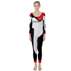 Red, Black And White Long Sleeve Catsuit by Valentinaart