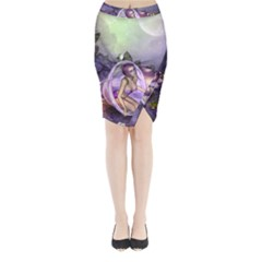 Wonderful Fairy In The Wonderland , Colorful Landscape Midi Wrap Pencil Skirt by FantasyWorld7