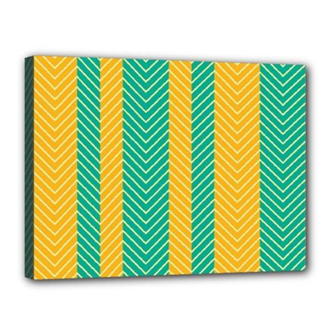 Green And Orange Herringbone Wallpaper Pattern Background Canvas 16  X 12  by Simbadda
