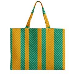 Green And Orange Herringbone Wallpaper Pattern Background Medium Tote Bag by Simbadda