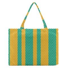 Green And Orange Herringbone Wallpaper Pattern Background Medium Zipper Tote Bag by Simbadda