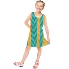 Green And Orange Herringbone Wallpaper Pattern Background Kids  Tunic Dress by Simbadda