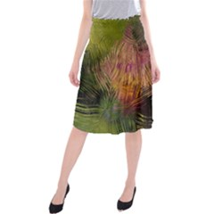 Abstract Brush Strokes In A Floral Pattern  Midi Beach Skirt by Simbadda