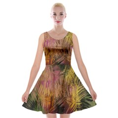 Abstract Brush Strokes In A Floral Pattern  Velvet Skater Dress by Simbadda