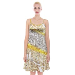 Abstract Composition Pattern Spaghetti Strap Velvet Dress