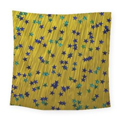 Abstract Gold Background With Blue Stars Square Tapestry (large)