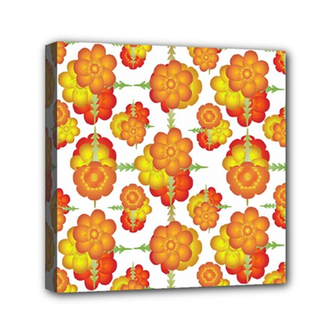 Colorful Stylized Floral Pattern Mini Canvas 6  X 6  by dflcprints