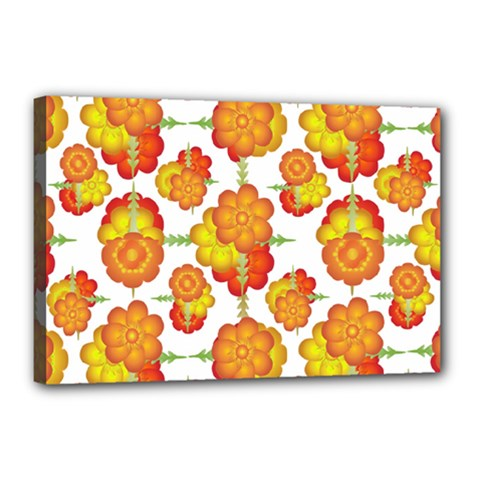 Colorful Stylized Floral Pattern Canvas 18  X 12  by dflcprints