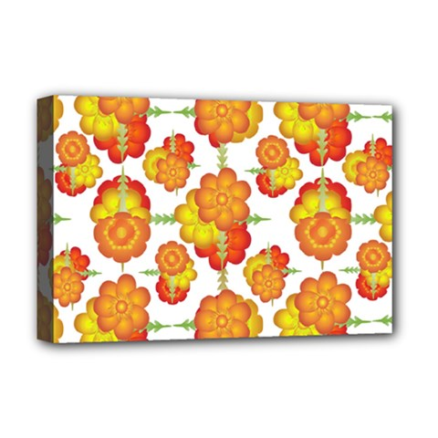Colorful Stylized Floral Pattern Deluxe Canvas 18  X 12   by dflcprints