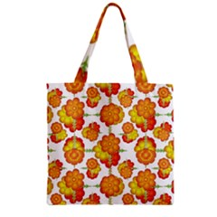 Colorful Stylized Floral Pattern Zipper Grocery Tote Bag by dflcprints
