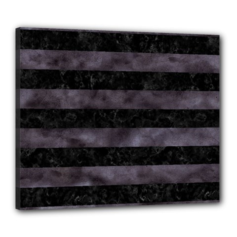 Stripes2 Black Marble & Black Watercolor Canvas 24  X 20  (stretched) by trendistuff