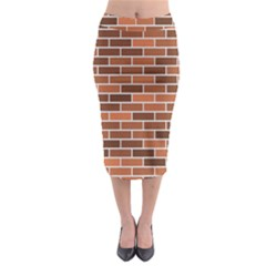 Brick Brown Line Texture Midi Pencil Skirt by Mariart