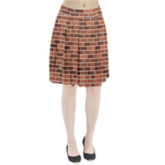 Brick Brown Line Texture Pleated Skirt by Mariart