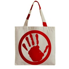 Bloody Handprint Stop Emob Sign Red Circle Grocery Tote Bag by Mariart