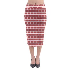 Brick Line Red White Midi Pencil Skirt by Mariart