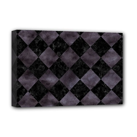 Square2 Black Marble & Black Watercolor Deluxe Canvas 18  X 12  (stretched) by trendistuff