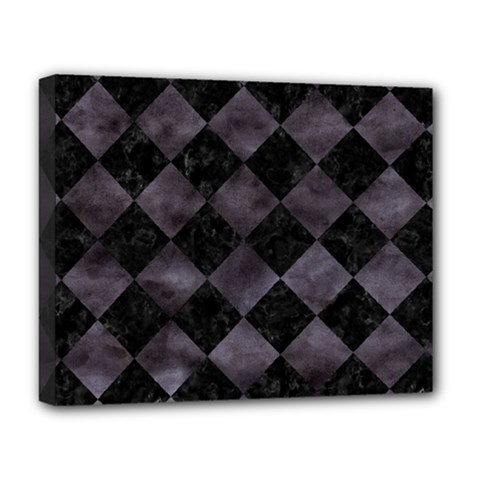 Square2 Black Marble & Black Watercolor Deluxe Canvas 20  X 16  (stretched) by trendistuff