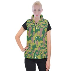 Camouflage Green Yellow Brown Women s Button Up Puffer Vest