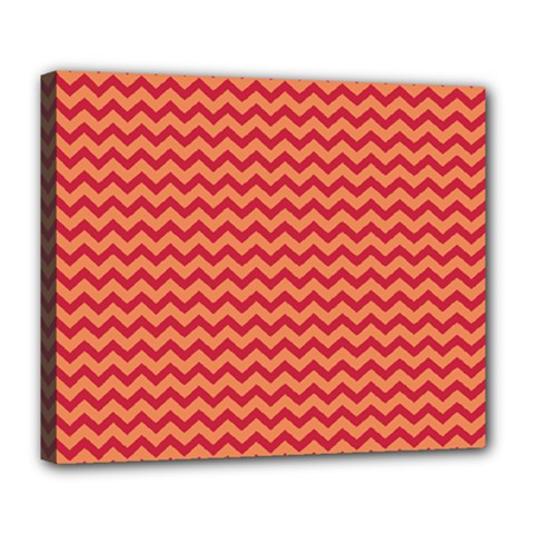 Chevron Wave Red Orange Deluxe Canvas 24  X 20   by Mariart