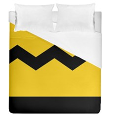 Chevron Wave Yellow Black Line Duvet Cover (queen Size) by Mariart
