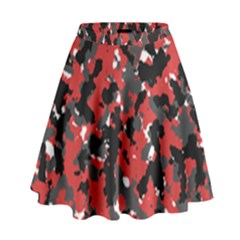 Bloodshot Camo Red Urban Initial Camouflage High Waist Skirt by Mariart
