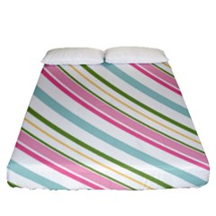 Diagonal Stripes Color Rainbow Pink Green Red Blue Fitted Sheet (queen Size) by Mariart