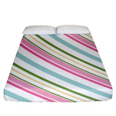 Diagonal Stripes Color Rainbow Pink Green Red Blue Fitted Sheet (king Size) by Mariart