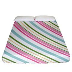 Diagonal Stripes Color Rainbow Pink Green Red Blue Fitted Sheet (california King Size) by Mariart