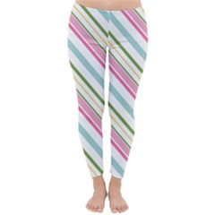 Diagonal Stripes Color Rainbow Pink Green Red Blue Classic Winter Leggings by Mariart