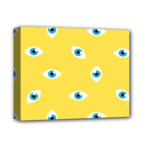 Eye Blue White Yellow Monster Sexy Image Deluxe Canvas 14  X 11  by Mariart