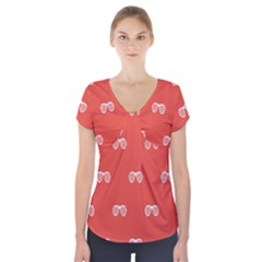 Glasses Disco Retina Red White Line Short Sleeve Front Detail Top by Mariart