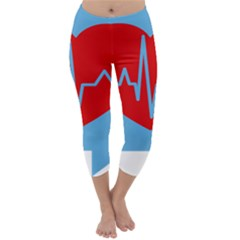 Heartbeat Health Heart Sign Red Blue Capri Winter Leggings  by Mariart